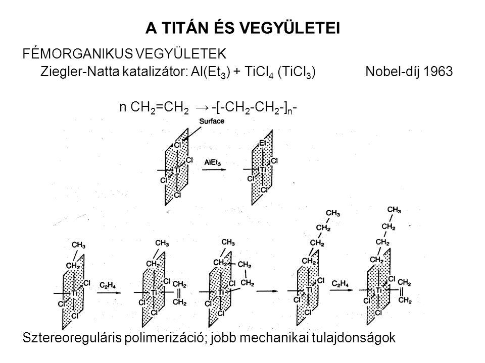 A TITÁN ÉS VEGYÜLETEI FÉMORGANIKUS VEGYÜLETEK Ziegler-Natta katalizátor: Al(Et 3 ) + TiCl 4 (TiCl 3 ) Nobel-díj 1963 n CH 2 =CH 2 → -[-CH 2 -CH 2 -] n - Sztereoreguláris polimerizáció; jobb mechanikai tulajdonságok