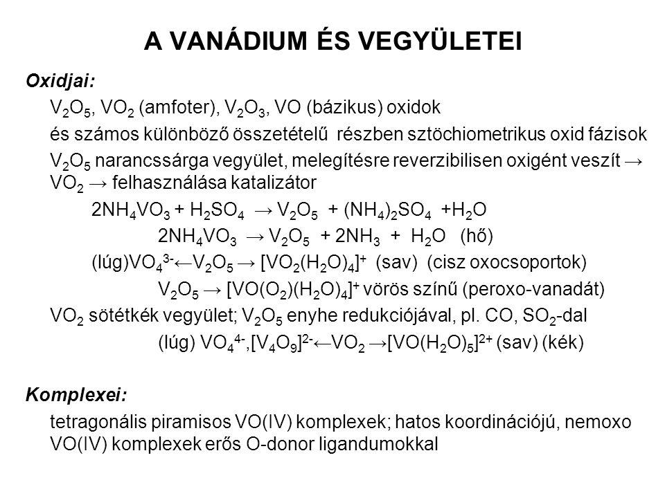 A VANÁDIUM ÉS VEGYÜLETEI Oxidjai: V 2 O 5, VO 2 (amfoter), V 2 O 3, VO (bázikus) oxidok és számos különböző összetételű részben sztöchiometrikus oxid fázisok V 2 O 5 narancssárga vegyület, melegítésre reverzibilisen oxigént veszít → VO 2 → felhasználása katalizátor 2NH 4 VO 3 + H 2 SO 4 → V 2 O 5 + (NH 4 ) 2 SO 4 +H 2 O 2NH 4 VO 3 → V 2 O 5 + 2NH 3 + H 2 O (hő) (lúg)VO 4 3- ←V 2 O 5 → [VO 2 (H 2 O) 4 ] + (sav) (cisz oxocsoportok) V 2 O 5 → [VO(O 2 )(H 2 O) 4 ] + vörös színű (peroxo-vanadát) VO 2 sötétkék vegyület; V 2 O 5 enyhe redukciójával, pl.