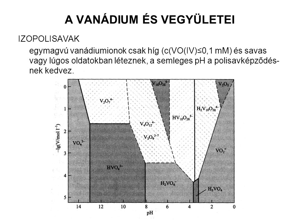 A VANÁDIUM ÉS VEGYÜLETEI IZOPOLISAVAK egymagvú vanádiumionok csak híg (c(VO(IV)≤0,1 mM) és savas vagy lúgos oldatokban léteznek, a semleges pH a polis