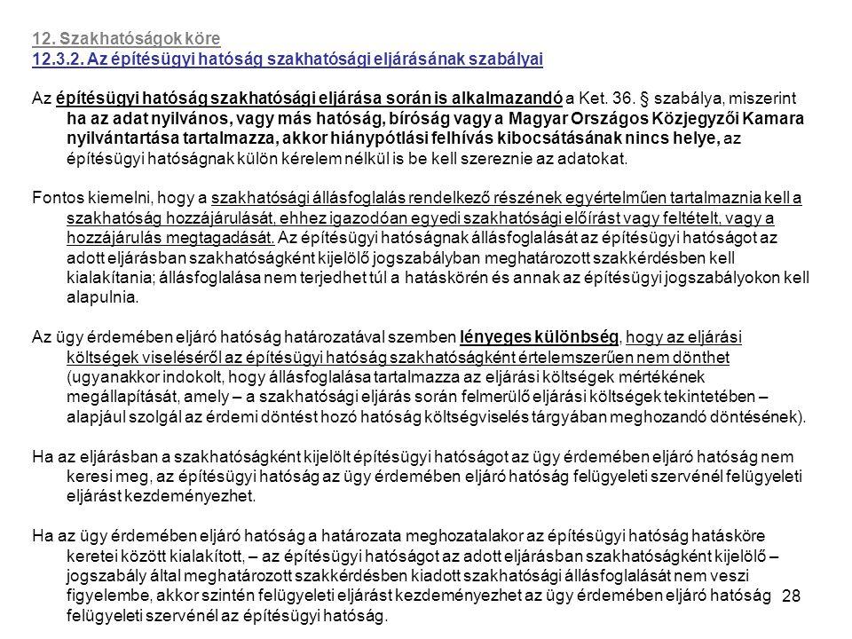 28 12. Szakhatóságok köre 12.3.2. Az építésügyi hatóság szakhatósági eljárásának szabályai Az építésügyi hatóság szakhatósági eljárása során is alkalm