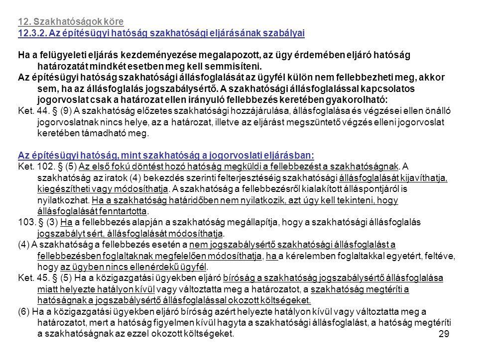 29 12. Szakhatóságok köre 12.3.2. Az építésügyi hatóság szakhatósági eljárásának szabályai Ha a felügyeleti eljárás kezdeményezése megalapozott, az üg