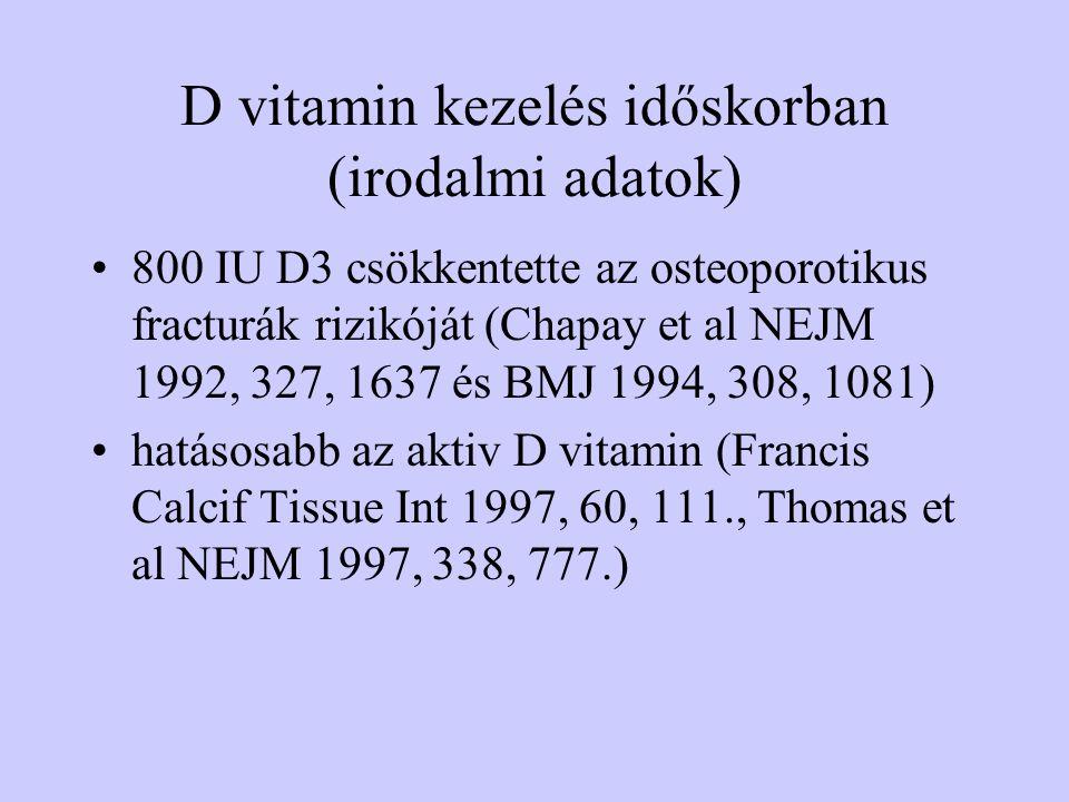 D vitamin kezelés időskorban (irodalmi adatok) 800 IU D3 csökkentette az osteoporotikus fracturák rizikóját (Chapay et al NEJM 1992, 327, 1637 és BMJ