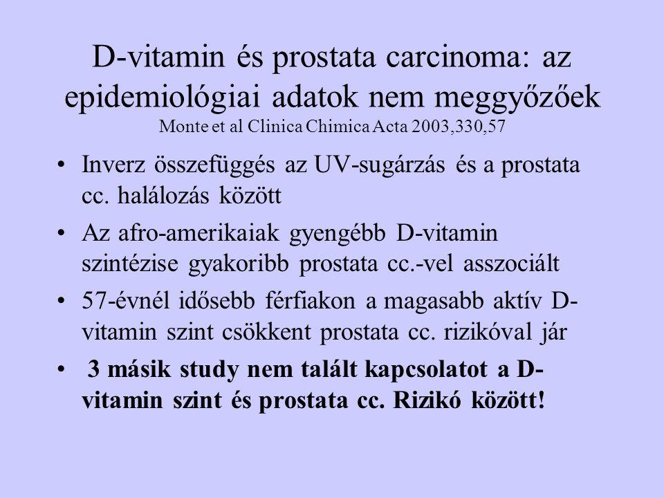 D-vitamin és prostata carcinoma: az epidemiológiai adatok nem meggyőzőek Monte et al Clinica Chimica Acta 2003,330,57 Inverz összefüggés az UV-sugárzá
