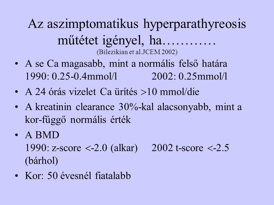 Az aszimptomatikus hyperparathyreosis műtétet igényel, ha………… (Bilezikian et al.JCEM 2002) A se Ca magasabb, mint a normális felső határa 1990: 0.25-0