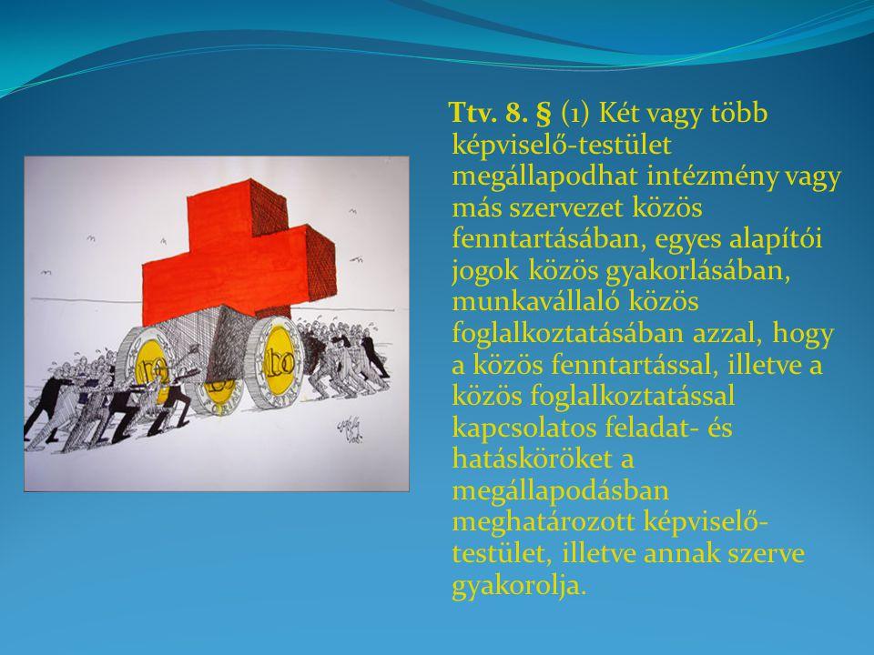 Ttv. 8. § (1) Két vagy több képviselő-testület megállapodhat intézmény vagy más szervezet közös fenntartásában, egyes alapítói jogok közös gyakorlásáb