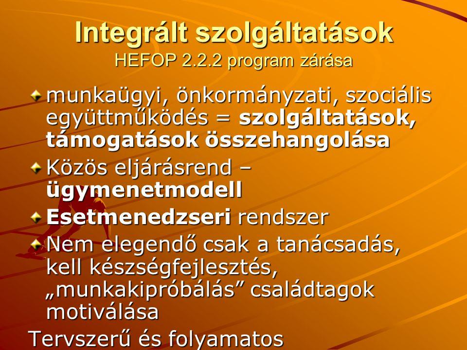 """Integrált szolgáltatások HEFOP 2.2.2 program zárása munkaügyi, önkormányzati, szociális együttműködés = szolgáltatások, támogatások összehangolása Közös eljárásrend – ügymenetmodell Esetmenedzseri rendszer Nem elegendő csak a tanácsadás, kell készségfejlesztés, """"munkakipróbálás családtagok motiválása Tervszerű és folyamatos együttműködés!"""
