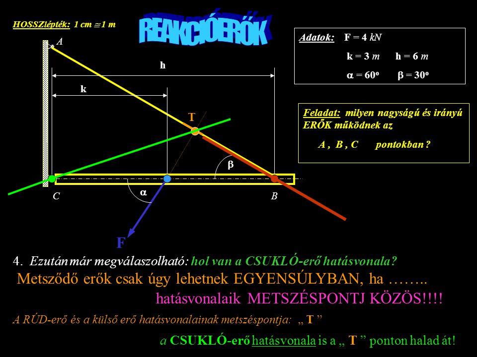 HOSSZlépték: 1 cm  1 m F k h A BC   Adatok: F = 4 kN k = 3 m h = 6 m  = 60 o  = 30 o Feladat: milyen nagyságú és irányú ERŐK működnek az A, B, C pontokban .
