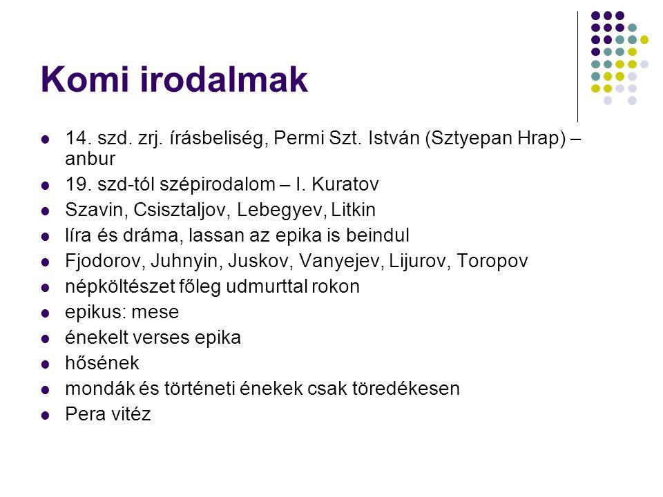 Permják irodalom Folklór: a komival van szoros kapcsolatban Pera vitéz, Kudim-Os 20.