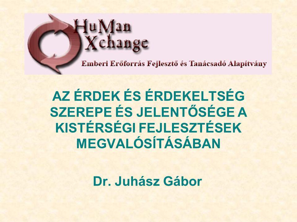 AZ ÉRDEK ÉS ÉRDEKELTSÉG SZEREPE ÉS JELENTŐSÉGE A KISTÉRSÉGI FEJLESZTÉSEK MEGVALÓSÍTÁSÁBAN Dr. Juhász Gábor