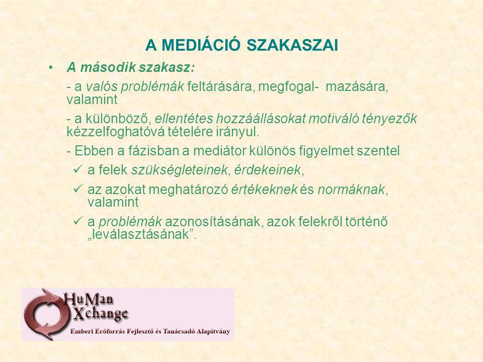 A MEDIÁCIÓ SZAKASZAI A második szakasz: - a valós problémák feltárására, megfogal- mazására, valamint - a különböző, ellentétes hozzáállásokat motiváló tényezők kézzelfoghatóvá tételére irányul.