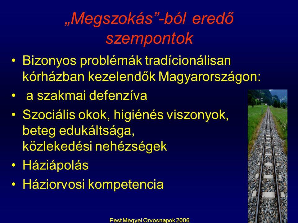 """Pest Megyei Orvosnapok 2006 """"Megszokás -ból eredő szempontok Bizonyos problémák tradícionálisan kórházban kezelendők Magyarországon: a szakmai defenzíva Szociális okok, higiénés viszonyok, beteg edukáltsága, közlekedési nehézségek Háziápolás Háziorvosi kompetencia"""