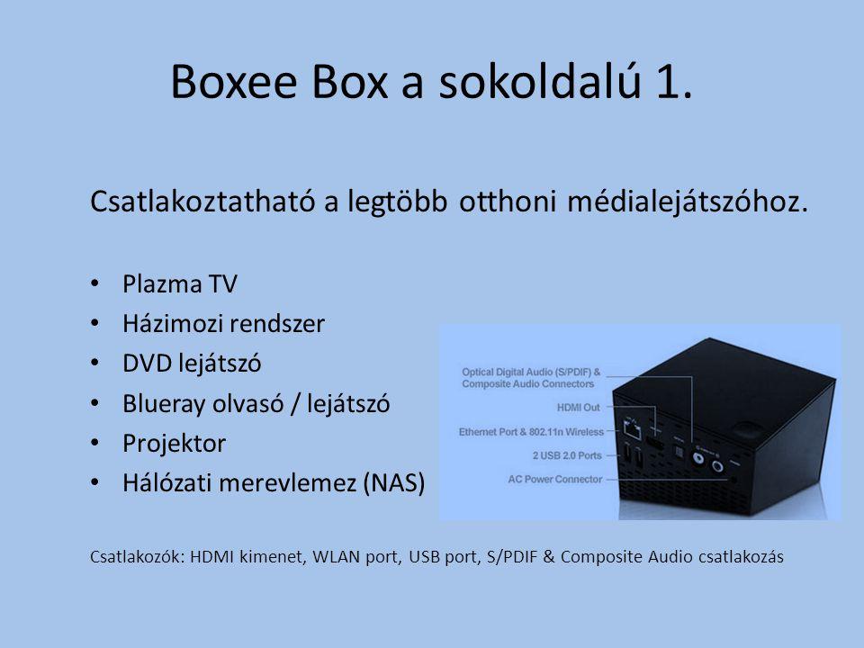 Boxee Box a sokoldalú 1. Csatlakoztatható a legtöbb otthoni médialejátszóhoz.