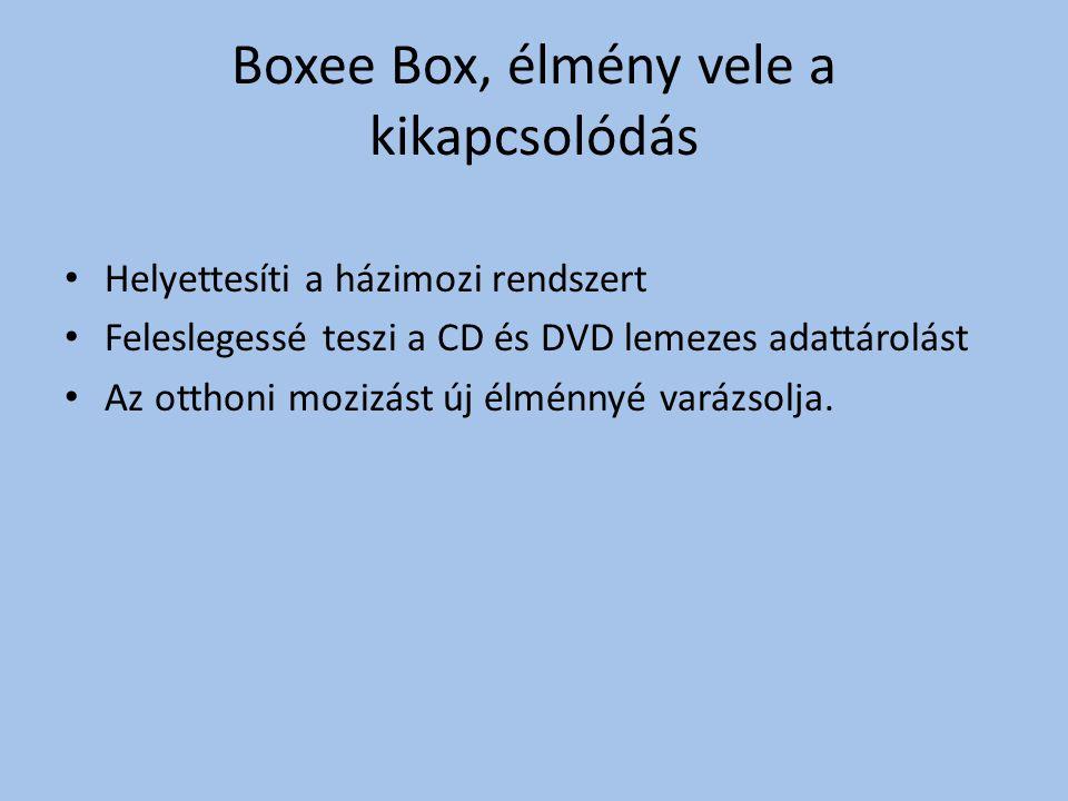 Boxee Box, élmény vele a kikapcsolódás Helyettesíti a házimozi rendszert Feleslegessé teszi a CD és DVD lemezes adattárolást Az otthoni mozizást új élménnyé varázsolja.