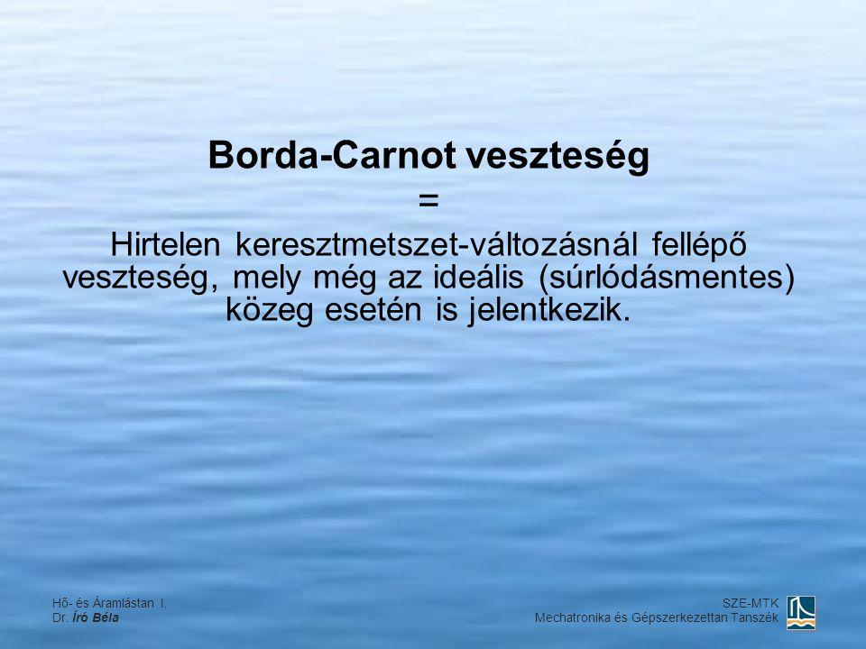 Borda-Carnot veszteség = Hirtelen keresztmetszet-változásnál fellépő veszteség, mely még az ideális (súrlódásmentes) közeg esetén is jelentkezik. Hő-