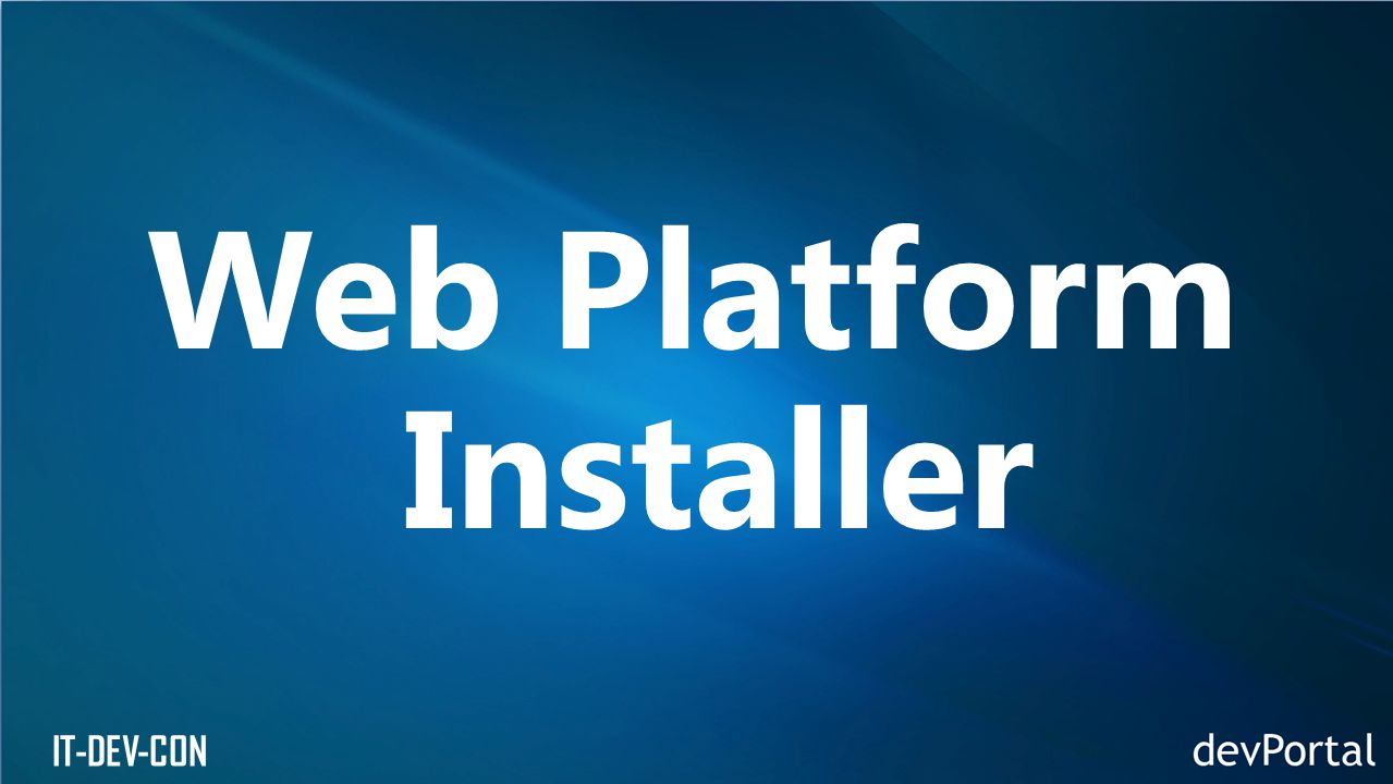 IT-DEV-CON Web Platform Installer