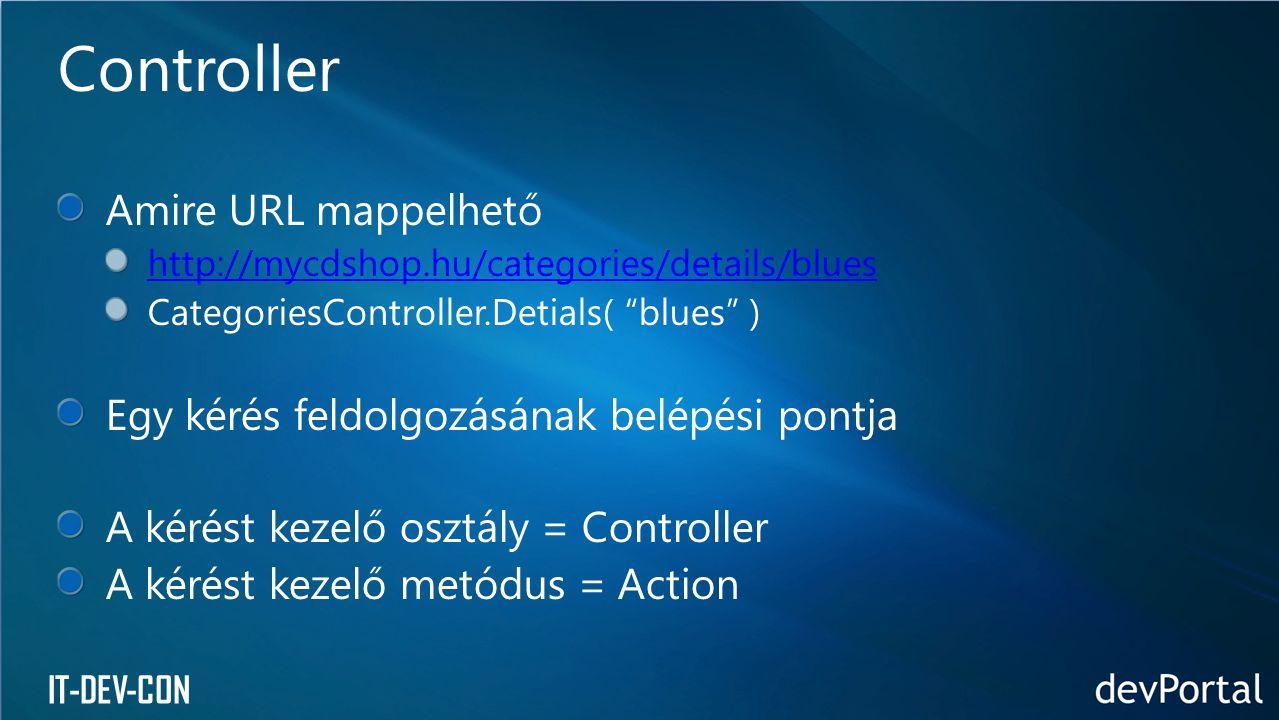 """IT-DEV-CON Amire URL mappelhető http://mycdshop.hu/categories/details/blues CategoriesController.Detials( """"blues"""" ) Egy kérés feldolgozásának belépési"""