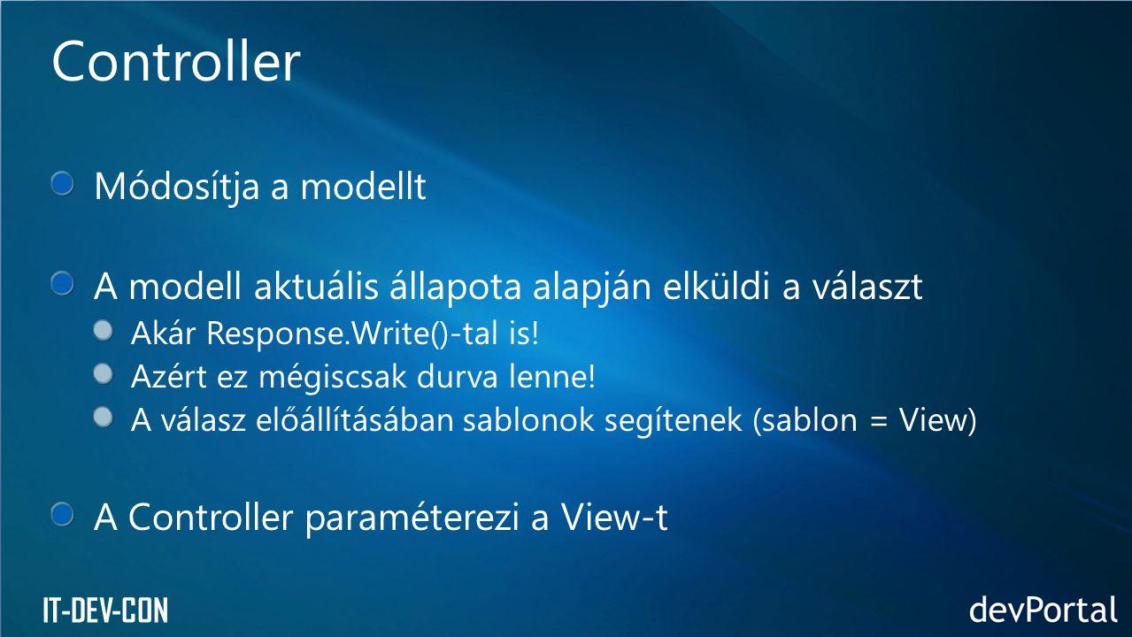 IT-DEV-CON Módosítja a modellt A modell aktuális állapota alapján elküldi a választ Akár Response.Write()-tal is! Azért ez mégiscsak durva lenne! A vá