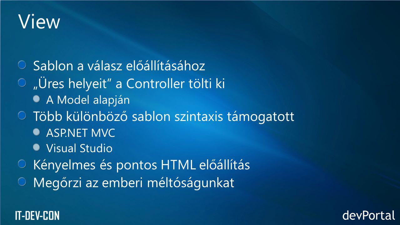 """IT-DEV-CON Sablon a válasz előállításához """"Üres helyeit"""" a Controller tölti ki A Model alapján Több különböző sablon szintaxis támogatott ASP.NET MVC"""