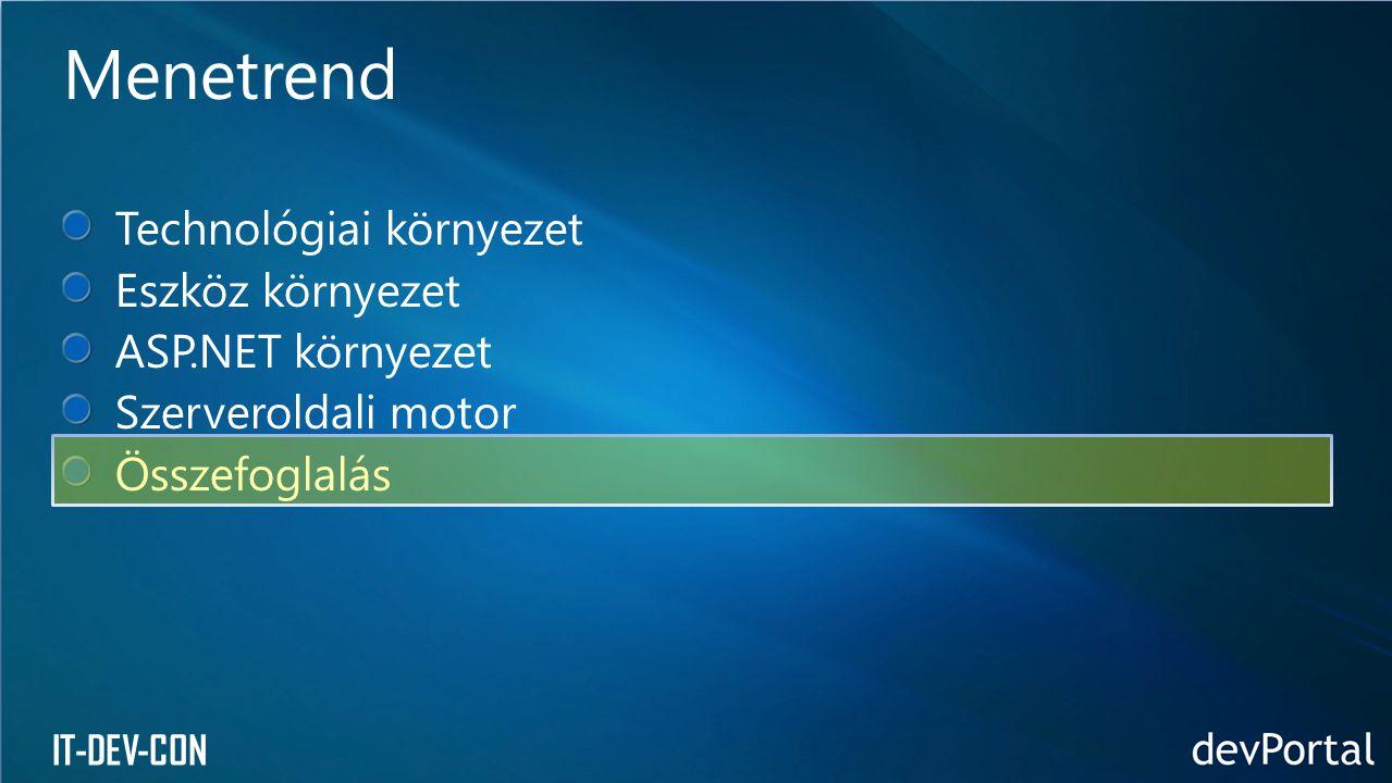 Technológiai környezet Eszköz környezet ASP.NET környezet Szerveroldali motor Összefoglalás Menetrend