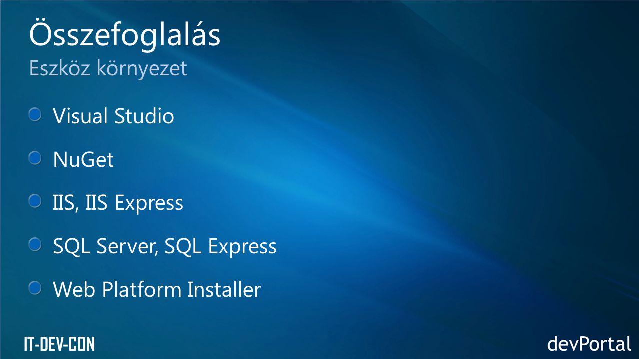 IT-DEV-CON Visual Studio NuGet IIS, IIS Express SQL Server, SQL Express Web Platform Installer Összefoglalás Eszköz környezet