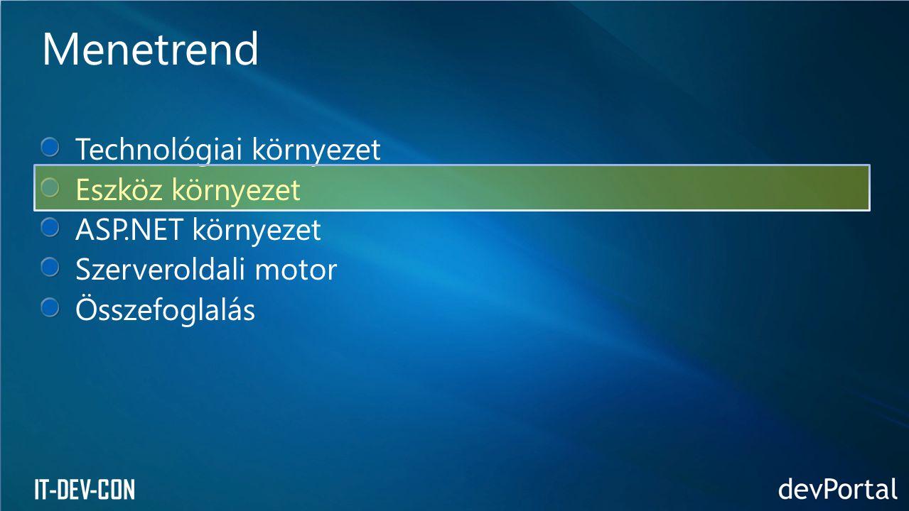 IT-DEV-CON Technológiai környezet Eszköz környezet ASP.NET környezet Szerveroldali motor Összefoglalás Menetrend