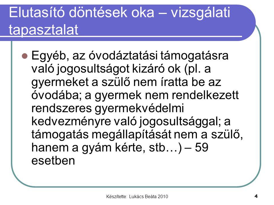 Készítette: Lukács Beáta 2010 4 Elutasító döntések oka – vizsgálati tapasztalat Egyéb, az óvodáztatási támogatásra való jogosultságot kizáró ok (pl. a