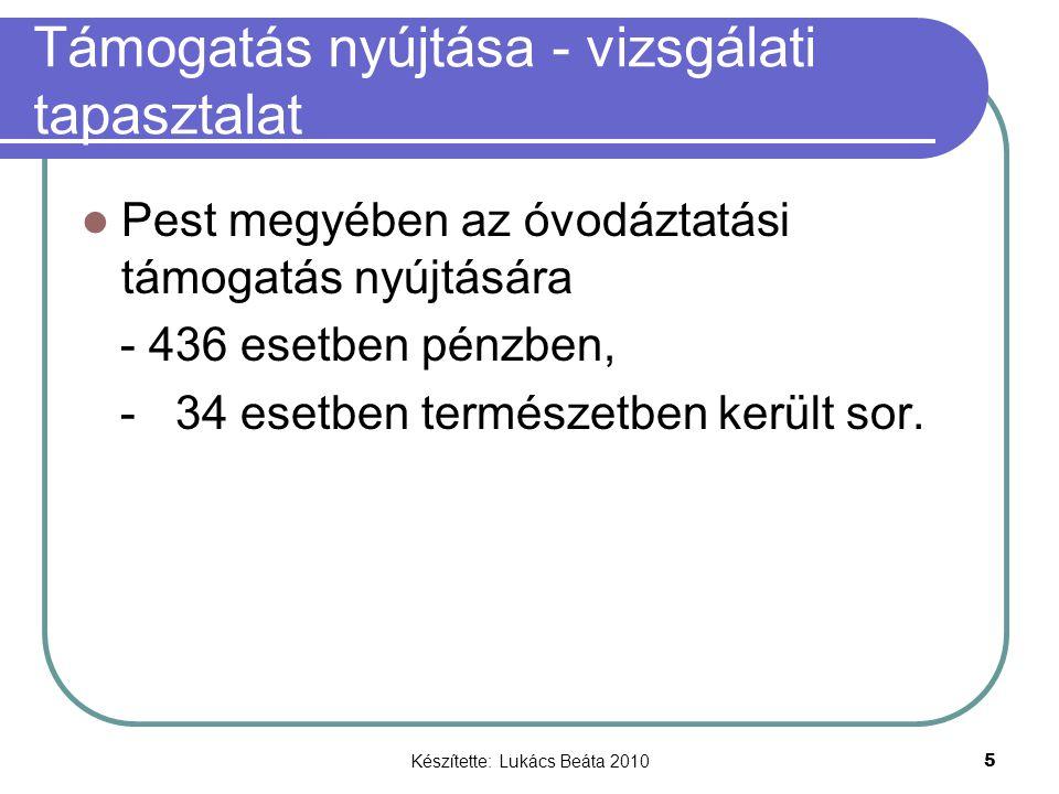 Készítette: Lukács Beáta 2010 5 Támogatás nyújtása - vizsgálati tapasztalat Pest megyében az óvodáztatási támogatás nyújtására - 436 esetben pénzben, - 34 esetben természetben került sor.