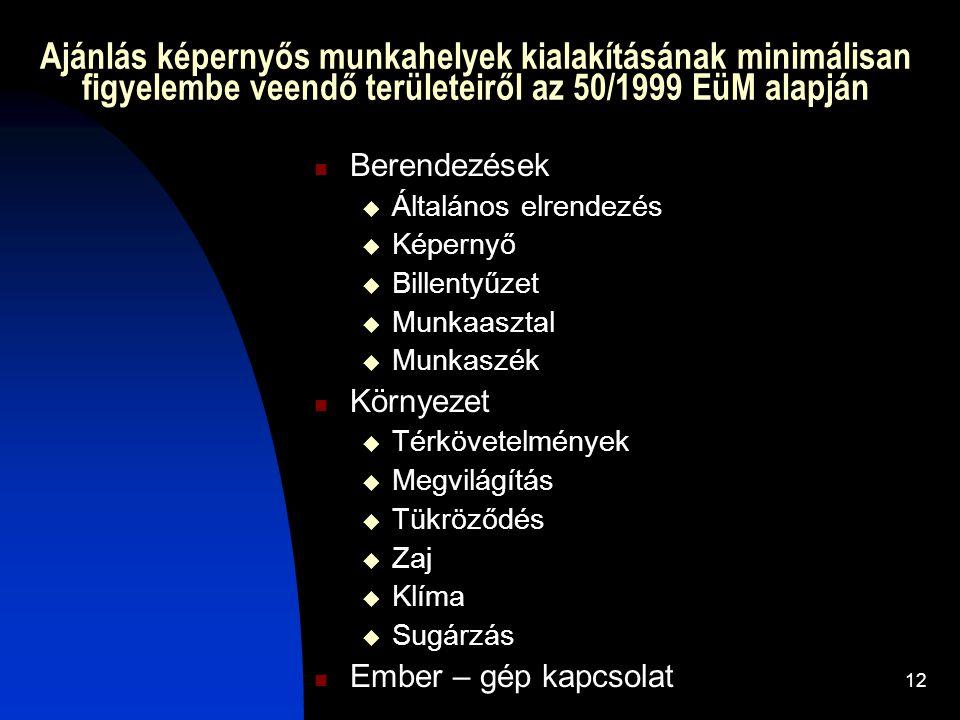 12 Ajánlás képernyős munkahelyek kialakításának minimálisan figyelembe veendő területeiről az 50/1999 EüM alapján Berendezések  Általános elrendezés