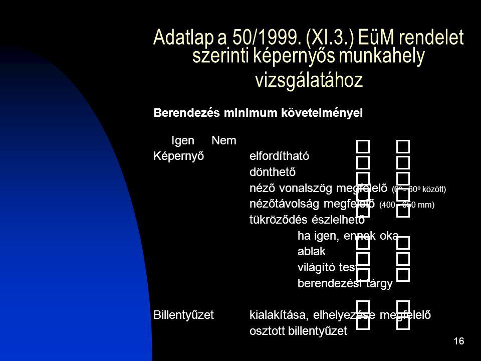 16 Adatlap a 50/1999. (XI.3.) EüM rendelet szerinti képernyős munkahely vizsgálatához Berendezés minimum követelményei Igen Nem Képernyő elfordítható