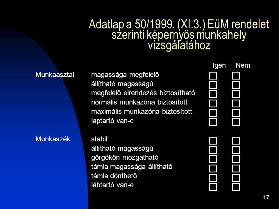 17 Adatlap a 50/1999. (XI.3.) EüM rendelet szerinti képernyős munkahely vizsgálatához Igen Nem Munkaasztal magassága megfelelő állítható magasságú meg