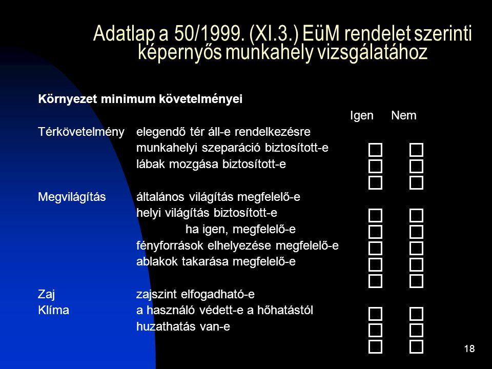 18 Adatlap a 50/1999. (XI.3.) EüM rendelet szerinti képernyős munkahely vizsgálatához Környezet minimum követelményei Igen Nem Térkövetelményelegendő