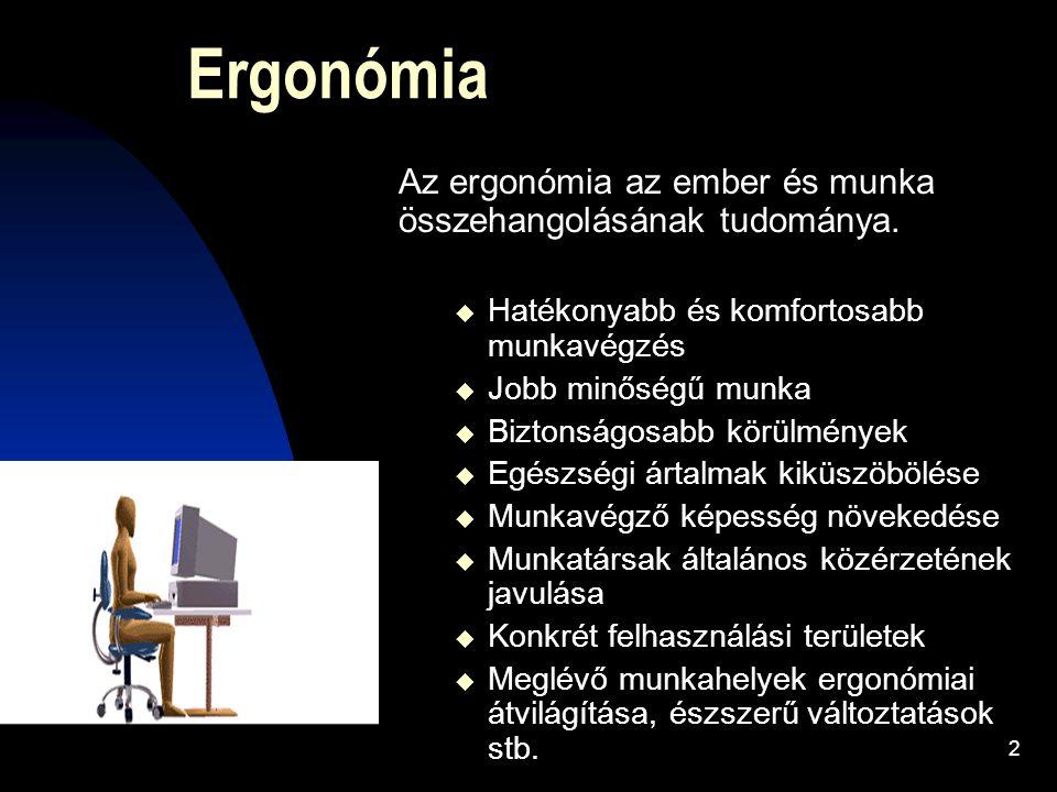 2 Ergonómia Az ergonómia az ember és munka összehangolásának tudománya.  Hatékonyabb és komfortosabb munkavégzés  Jobb minőségű munka  Biztonságosa