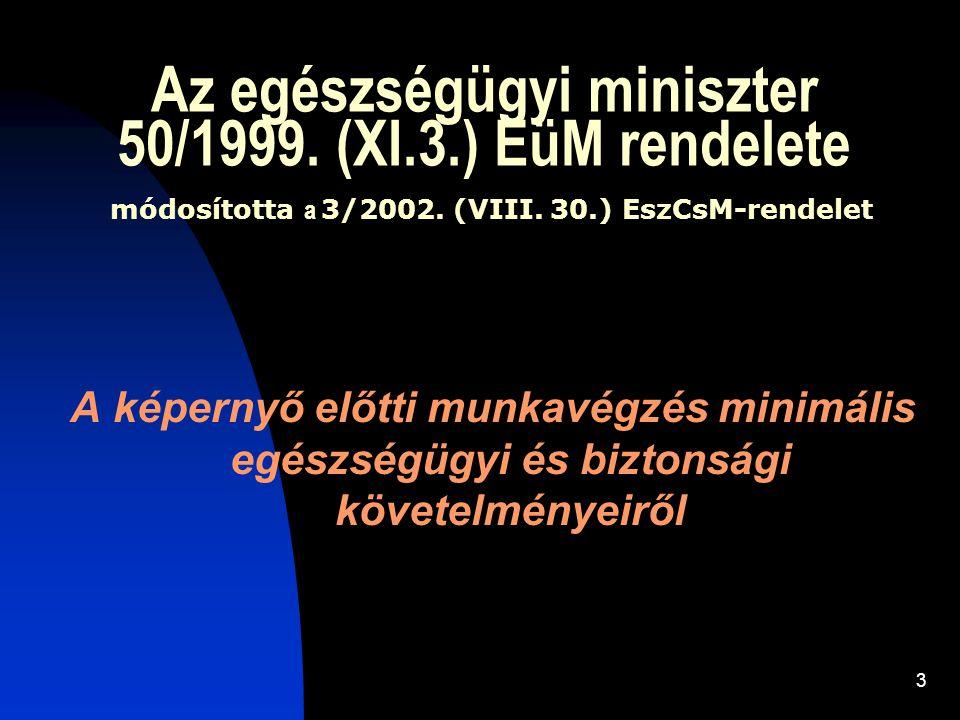 3 Az egészségügyi miniszter 50/1999. (XI.3.) EüM rendelete módosította a 3/2002. (VIII. 30.) EszCsM-rendelet A képernyő előtti munkavégzés minimális e