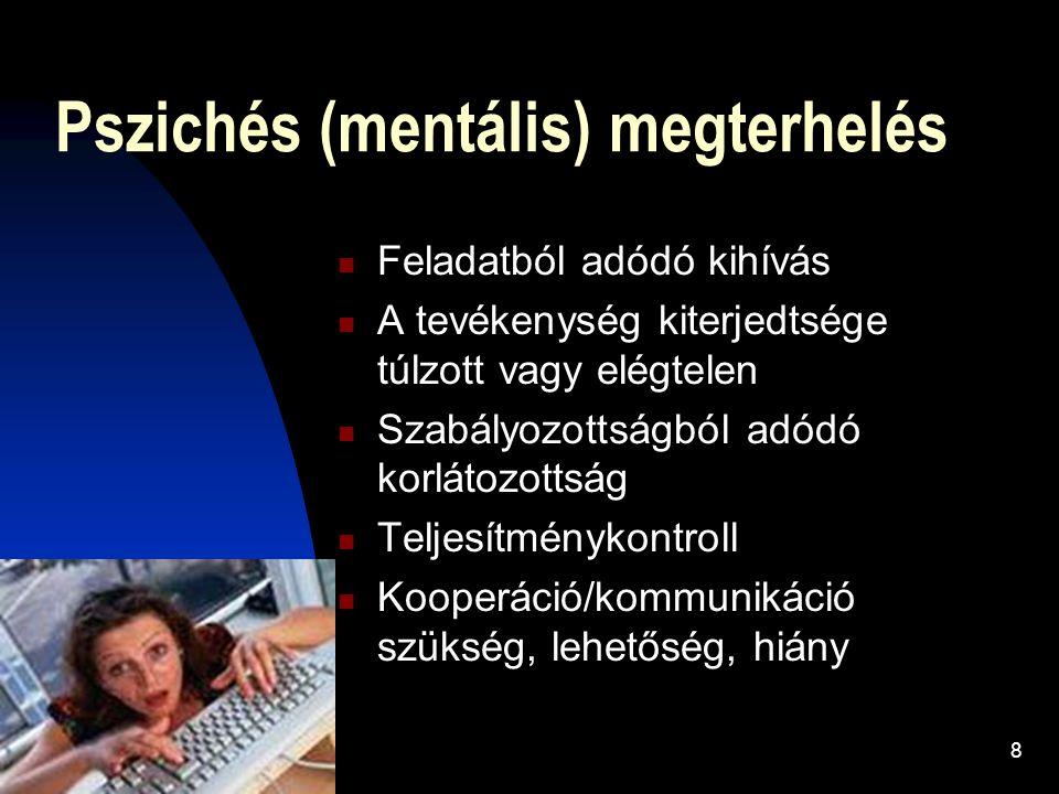 8 Pszichés (mentális) megterhelés Feladatból adódó kihívás A tevékenység kiterjedtsége túlzott vagy elégtelen Szabályozottságból adódó korlátozottság