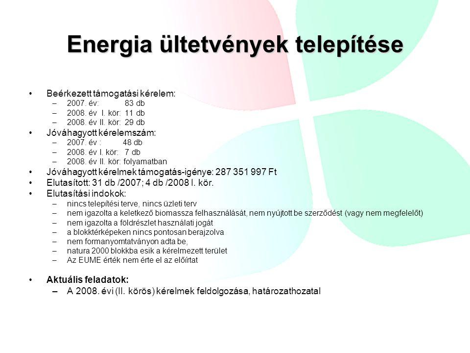 Energia ültetvények telepítése Beérkezett támogatási kérelem: –2007.