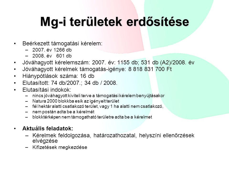 Mg-i területek erdősítése Beérkezett támogatási kérelem: –2007.