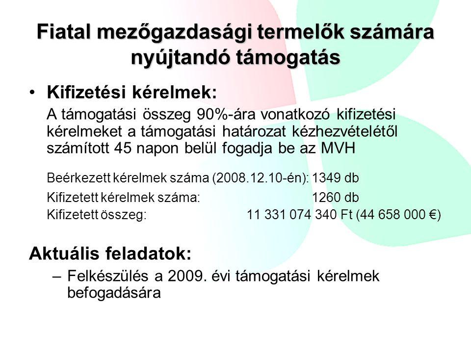 Mezőgazdasági termelők gazdaság átadásához nyújtandó támogatás Jogszabály-módosítás miatt a kérelmek újbóli bírálata vált szükségessé Beérkezett támogatási kérelem: 61 db Rendelkezésre álló forrás: 25 556 885 € (~ 6,5 mrd Ft) 7 évre becsült forráslekötés: ~ 307 767 600 Ft (~1,2 millió €) A kérelmek állapota (FAB folyamatban): Jóváhagyott kérelmek száma: 36 db Elutasított kérelmek száma: 19 db Visszavont kérelmek száma: 6 db Aktuális feladatok: –Felkészülés a kifizetési kérelmek befogadására és bírálatára –Felkészülés a 2009.