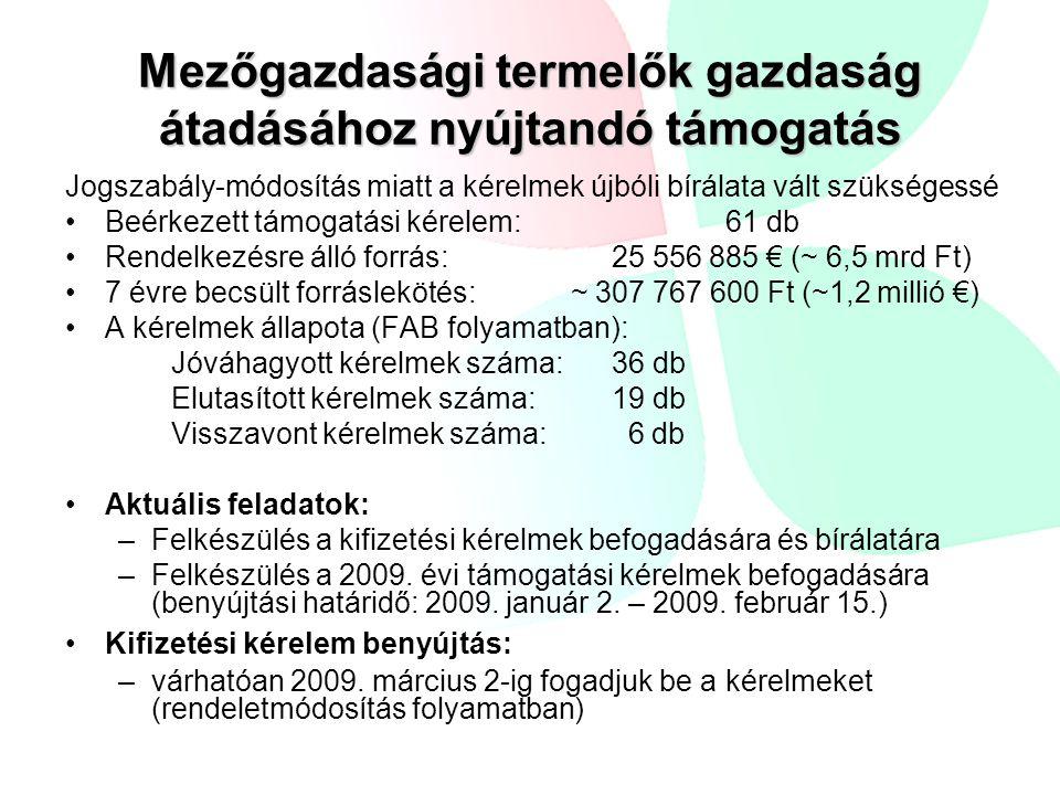 Kedvezőtlen adottságú területek támogatása Beérkezett kifizetési kérelem:6599 db Igényléssel érintett terület:267 810,43 ha A kérelmek még feldolgozás alatt állnak Beérkezett kérelmek forrásigénye: ~ 2,5 milliárd Ft az eddigi évek kifizetései alapján Hiánypótlások száma – közös kérelmen összesen 280 db Elutasított – 2 db érdemi vizsgálat nélkül (nem végleges adat) Elutasítási indokok – a rendelkezésre álló határidőn túli benyújtás, ezen kívül az általános indokok: –Nem KAT terület –KAT-ban nem támogatható növény –Állami tulajdon részaránya nagyobb, mint 50% –20% feletti szankció az egyes ellenőrzések alapján Aktuális feladatok: –A keresztellenőrzéseket követő ügyintézés, határozathozatal, kifizetés december végéig 2009-es feladatok –A közös kérelem és az eljárás előkészítése.