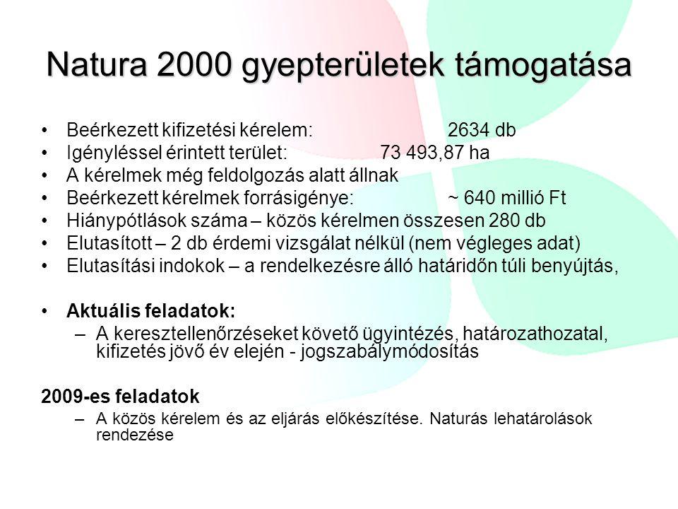 Natura 2000 gyepterületek támogatása Beérkezett kifizetési kérelem: 2634 db Igényléssel érintett terület: 73 493,87 ha A kérelmek még feldolgozás alatt állnak Beérkezett kérelmek forrásigénye: ~ 640 millió Ft Hiánypótlások száma – közös kérelmen összesen 280 db Elutasított – 2 db érdemi vizsgálat nélkül (nem végleges adat) Elutasítási indokok – a rendelkezésre álló határidőn túli benyújtás, Aktuális feladatok: –A keresztellenőrzéseket követő ügyintézés, határozathozatal, kifizetés jövő év elején - jogszabálymódosítás 2009-es feladatok –A közös kérelem és az eljárás előkészítése.