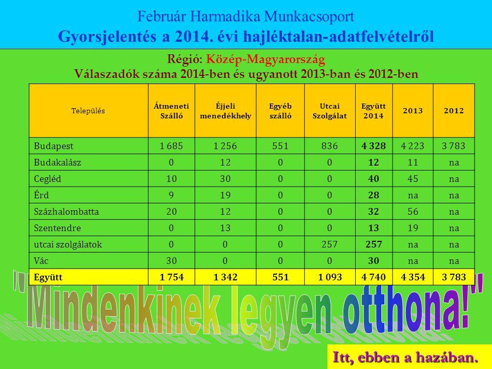 Itt, ebben a hazában. Február Harmadika Munkacsoport Gyorsjelentés a 2014. évi hajléktalan-adatfelvételről Régió: Közép-Magyarország Válaszadók száma
