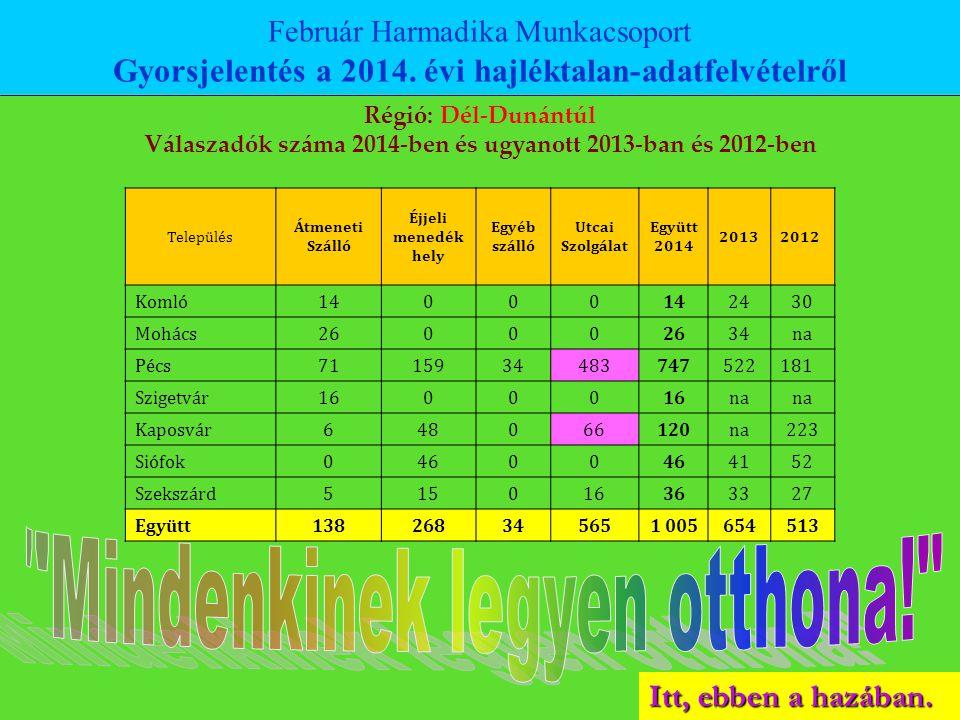 Itt, ebben a hazában. Február Harmadika Munkacsoport Gyorsjelentés a 2014. évi hajléktalan-adatfelvételről Régió: Dél-Dunántúl Válaszadók száma 2014-b
