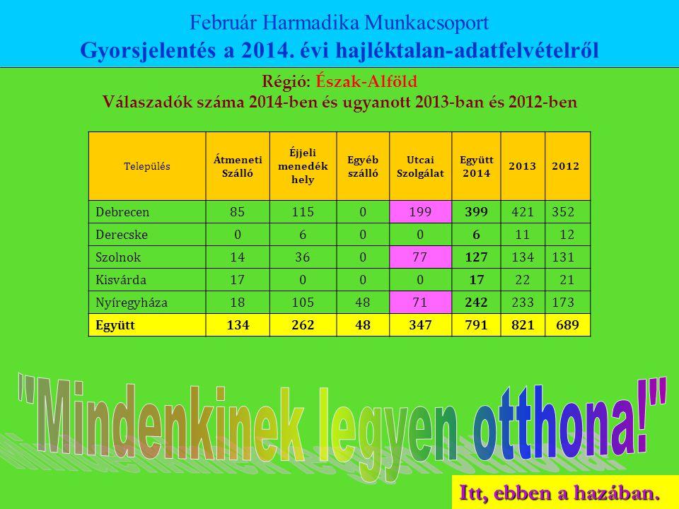 Itt, ebben a hazában. Február Harmadika Munkacsoport Gyorsjelentés a 2014. évi hajléktalan-adatfelvételről Régió: Észak-Alföld Válaszadók száma 2014-b