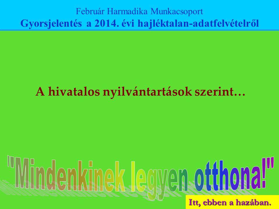 Február Harmadika Munkacsoport Gyorsjelentés a 2014. évi hajléktalan-adatfelvételről A hivatalos nyilvántartások szerint…