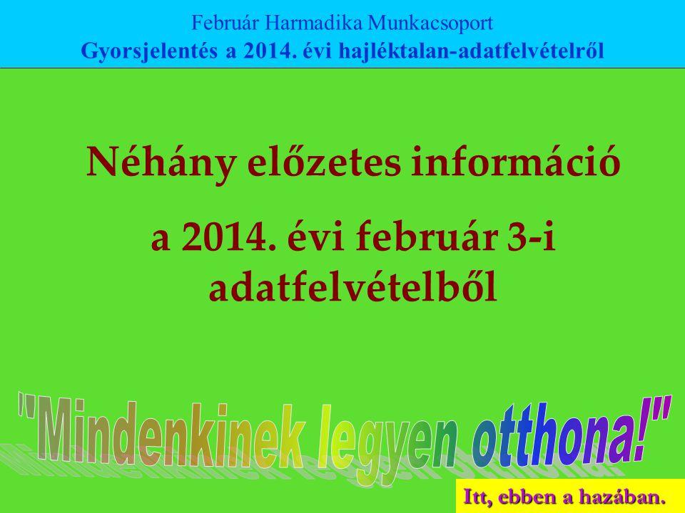 Itt, ebben a hazában. Néhány előzetes információ a 2014. évi február 3-i adatfelvételből Február Harmadika Munkacsoport Gyorsjelentés a 2014. évi hajl