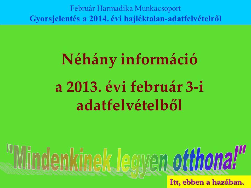 Itt, ebben a hazában. Néhány információ a 2013. évi február 3-i adatfelvételből Február Harmadika Munkacsoport Gyorsjelentés a 2014. évi hajléktalan-a