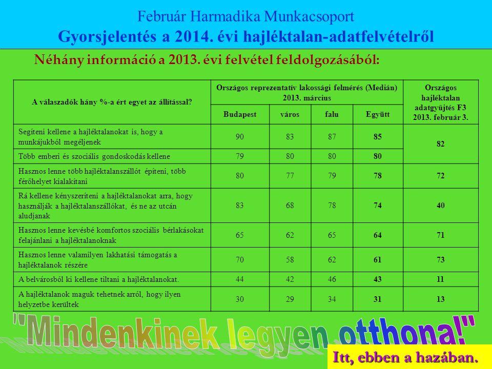 Néhány információ a 2013. évi felvétel feldolgozásából: Február Harmadika Munkacsoport Gyorsjelentés a 2014. évi hajléktalan-adatfelvételről A válasza