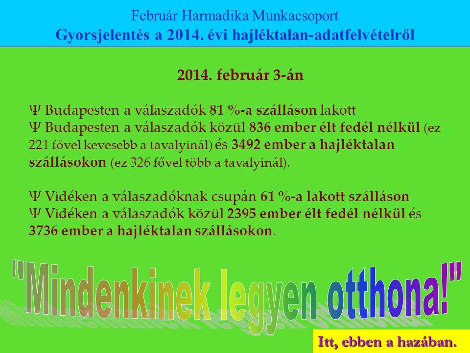 2014. február 3-án Ψ Budapesten a válaszadók 81 %-a szálláson lakott Ψ Budapesten a válaszadók közül 836 ember élt fedél nélkül (ez 221 fővel kevesebb