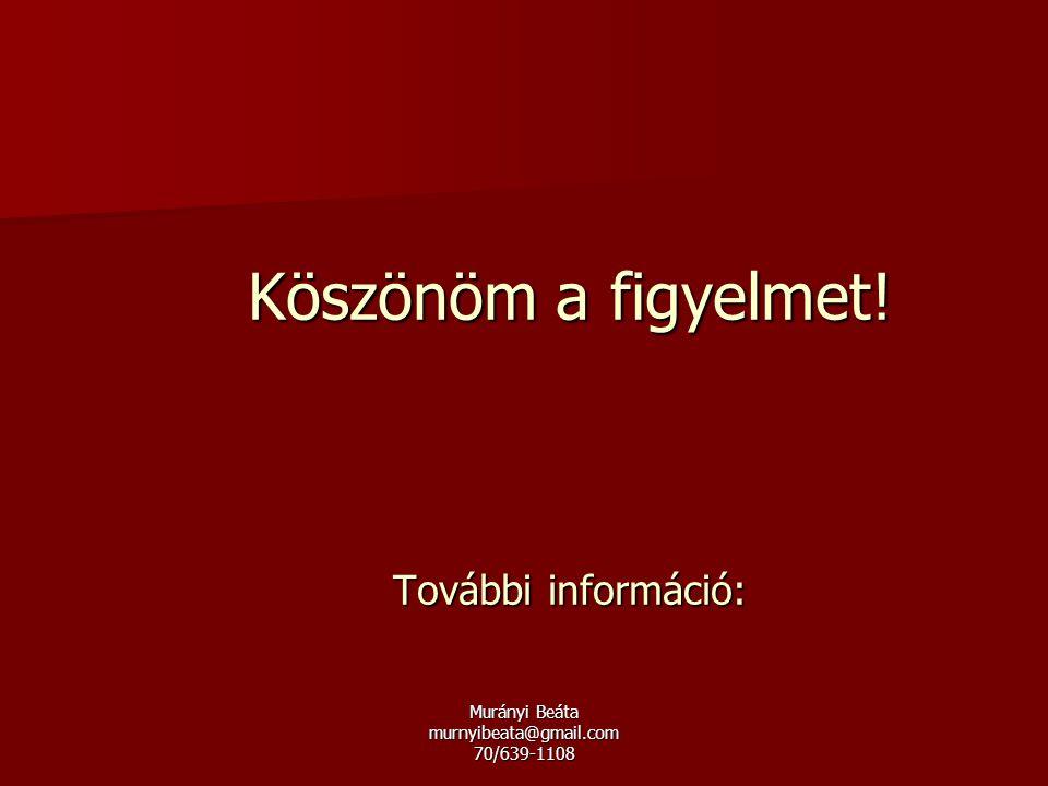Murányi Beáta murnyibeata@gmail.com 70/639-1108 Köszönöm a figyelmet! További információ: