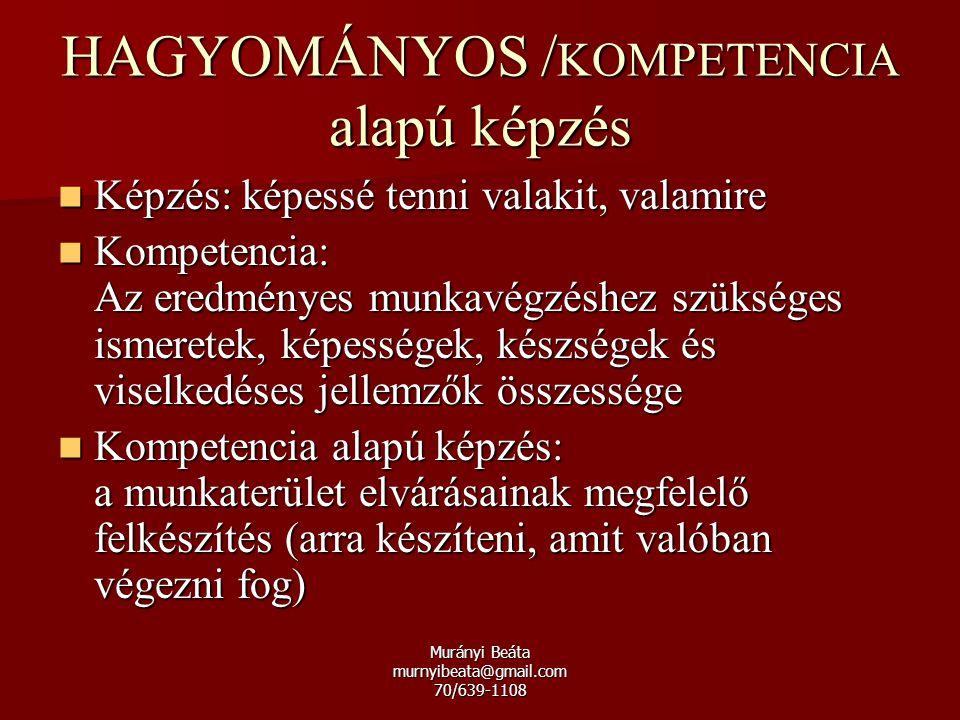 Murányi Beáta murnyibeata@gmail.com 70/639-1108 Képzés: képessé tenni valakit, valamire Képzés: képessé tenni valakit, valamire Kompetencia: Az eredmé