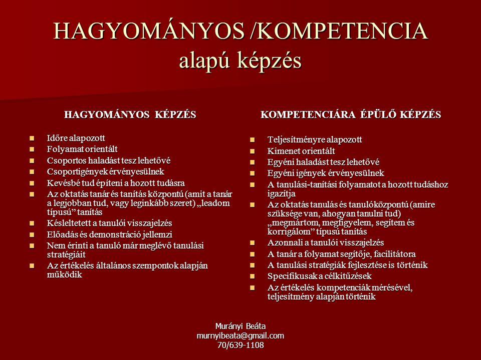 Murányi Beáta murnyibeata@gmail.com 70/639-1108 HAGYOMÁNYOS /KOMPETENCIA alapú képzés HAGYOMÁNYOS KÉPZÉS Időre alapozott Időre alapozott Folyamat orie